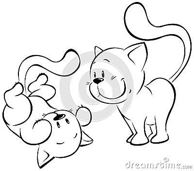 Playing kitten sketch