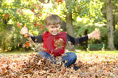 Playing In Leaves Stock Photos - Image: 230103