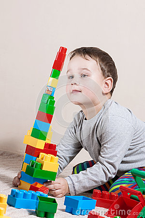 Free Playing Little Boy With Colored Cubes Stock Photos - 74071533