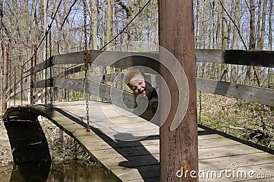 Playing peek-a-boo on the bridge