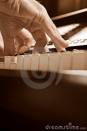 Playing piano from low angle