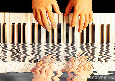 Playing piano reflection