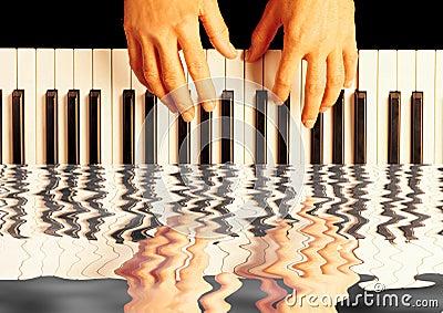 Playing piano reflection