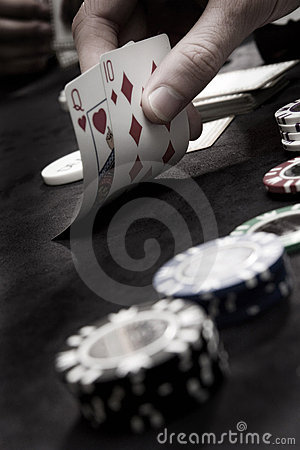 Playing poker cards and chips