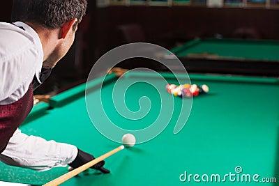Playing pool.