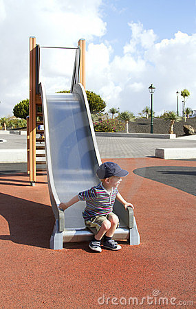 Playing on a slide