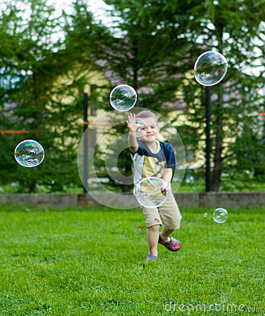 Playing with soap bubbles