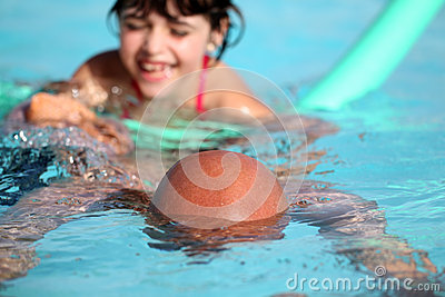 Playing to swimming pool