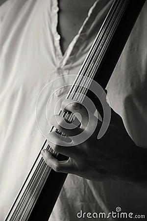 Playing upright bass