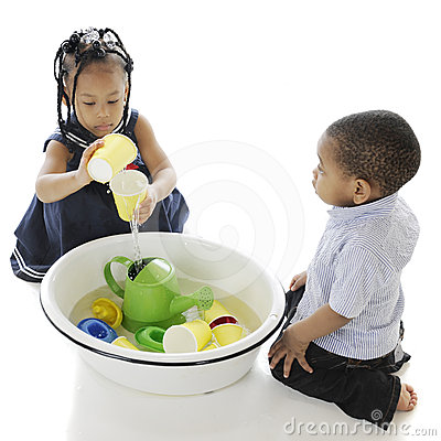 Playing Water Toys in a Tub