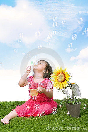 Free Playing With Bubbles Stock Photography - 23857842