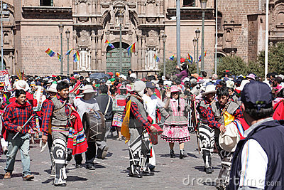 Plaza de Armas in Cusco city in Peru Editorial Photo