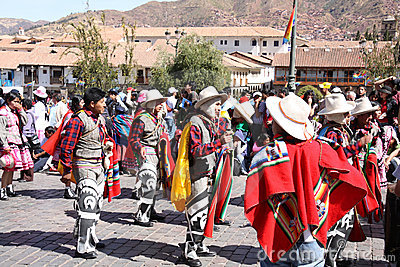 Plaza de Armas in Cusco city in Peru Editorial Photo