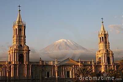 Plaza de Armas with El Misti volcano, Arequipa