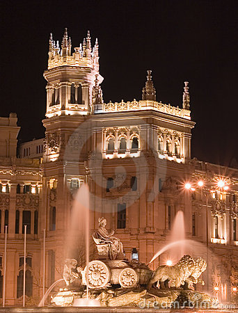 Free Plaza De Cibeles, Madrid At Night Stock Image - 1663991
