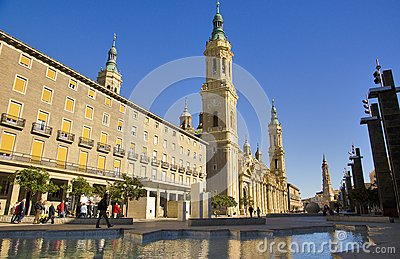 Plaza del Pilar, Zaragoza, Spain Editorial Image
