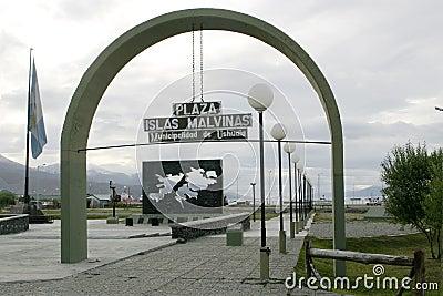 Plaza Islas Malvinas in Ushuaia, Argentina Editorial Photography