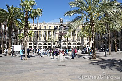 The Plaza Real in Barcelona Editorial Stock Image