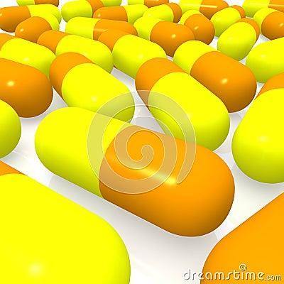 Píldoras amarillas y anaranjadas