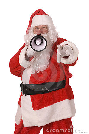 Man ith bullhorn in Santa suit