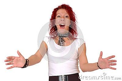 Pleasantly surprised woman