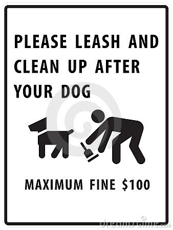 Please leash and clean up after your dog sign