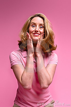 Pleased woman on pink