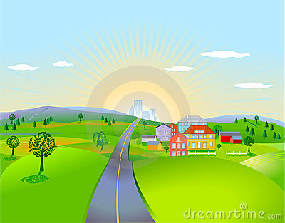 Pleasing landscape with houses