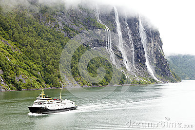 Pleasure boat in fjord