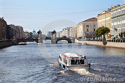 Pleasure boat on Fontanka river