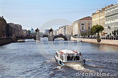 Pleasure boat on Fontanka river
