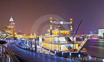 Pleasure-boat parks at the Shanghai bund Editorial Stock Image