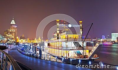 Pleasure-boat parks at the Shanghai bund Editorial Stock Image