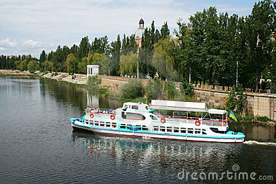 Pleasure boat on the river Southern Bug