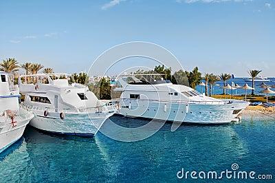 Pleasure boats at anchor