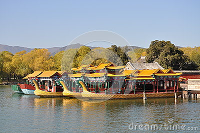 Pleasure boats with dragon heads in the Summer Palace