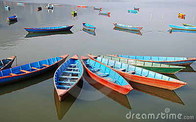 Pleasure boats at Fewa lake in Pokhara,Nepal