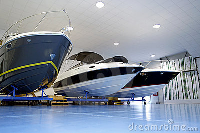 Pleasure boats in garage
