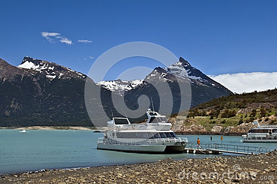 Pleasure boats on the glacial lake Editorial Image