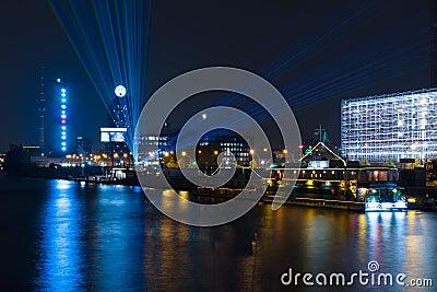 Pleasure boats in the night illumination on the River Spree Editorial Image