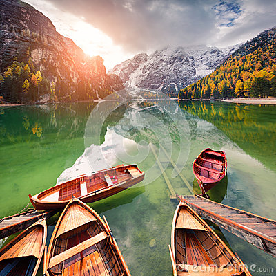 Free Pleasure Boats On Braies Lakeand Seekofel Mount On Background. Royalty Free Stock Images - 99237139