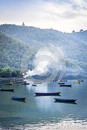Pleasure boats on Pokhara lake in Nepal