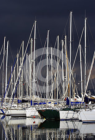 Pleasure boats by a stormy day