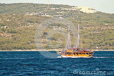 Pleasure craft boat in Adriatic sea Croatia, on excursion tour