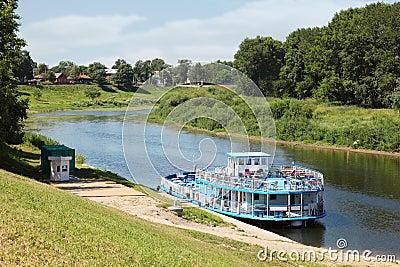 Pleasure craft on river in Vologda