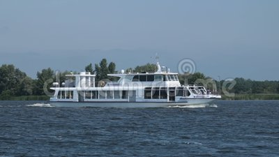 Pleasure cruise boat traveling the river stock video footage