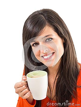 Pleasure of hot steaming coffee