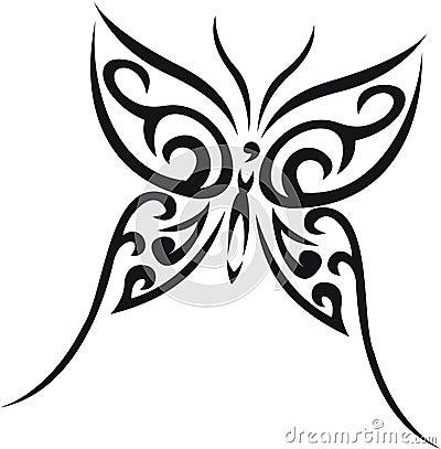 Plemienny motyli tatuaż