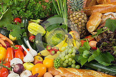Plenty of fruit, vegetables and bread