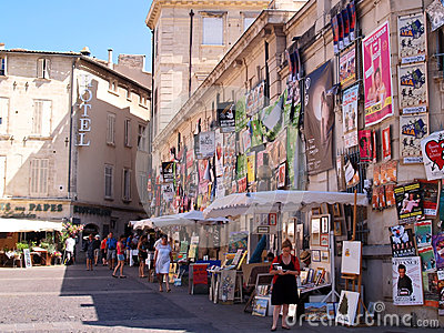 Plenty of playbills on a wall in Avignon Editorial Stock Image